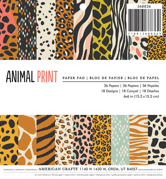 American Crafts 6x6 Paper Pack: Animal Print