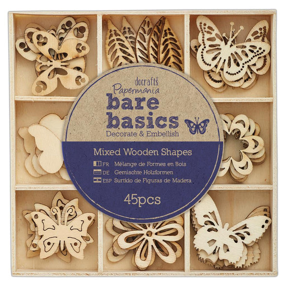 Bare Basics Wooden Shapes - Flowers & Butterflies
