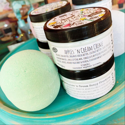 Alchemy apples 'n cream trio - bubble bomb 4pk with matching creme and soapy frosting