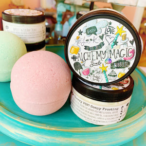 Alchemy Cherry POP! Trio - bubble bomb 4pk with matching creme and soapy frosting