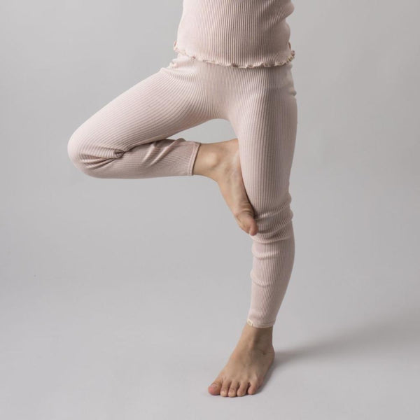 Minimalisma Silk/Cotton Bieber Rib Pants - Sweet Rose
