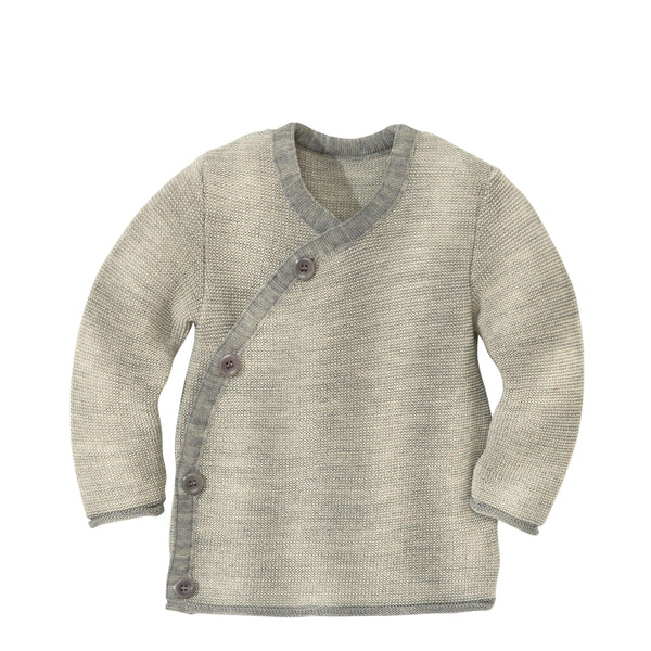 Disana Organic Merino Baby Cardigan - Grey/Natural