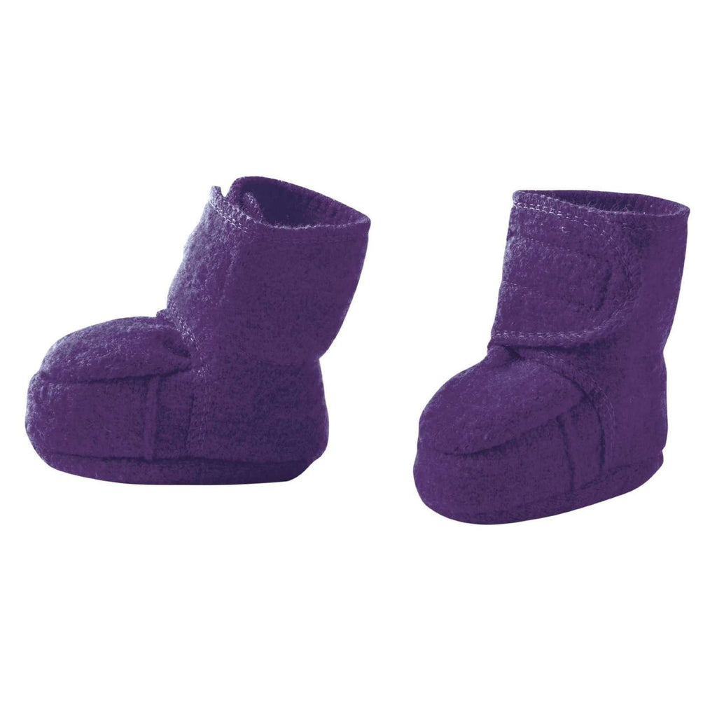 Disana Boiled Wool Booties - Plum