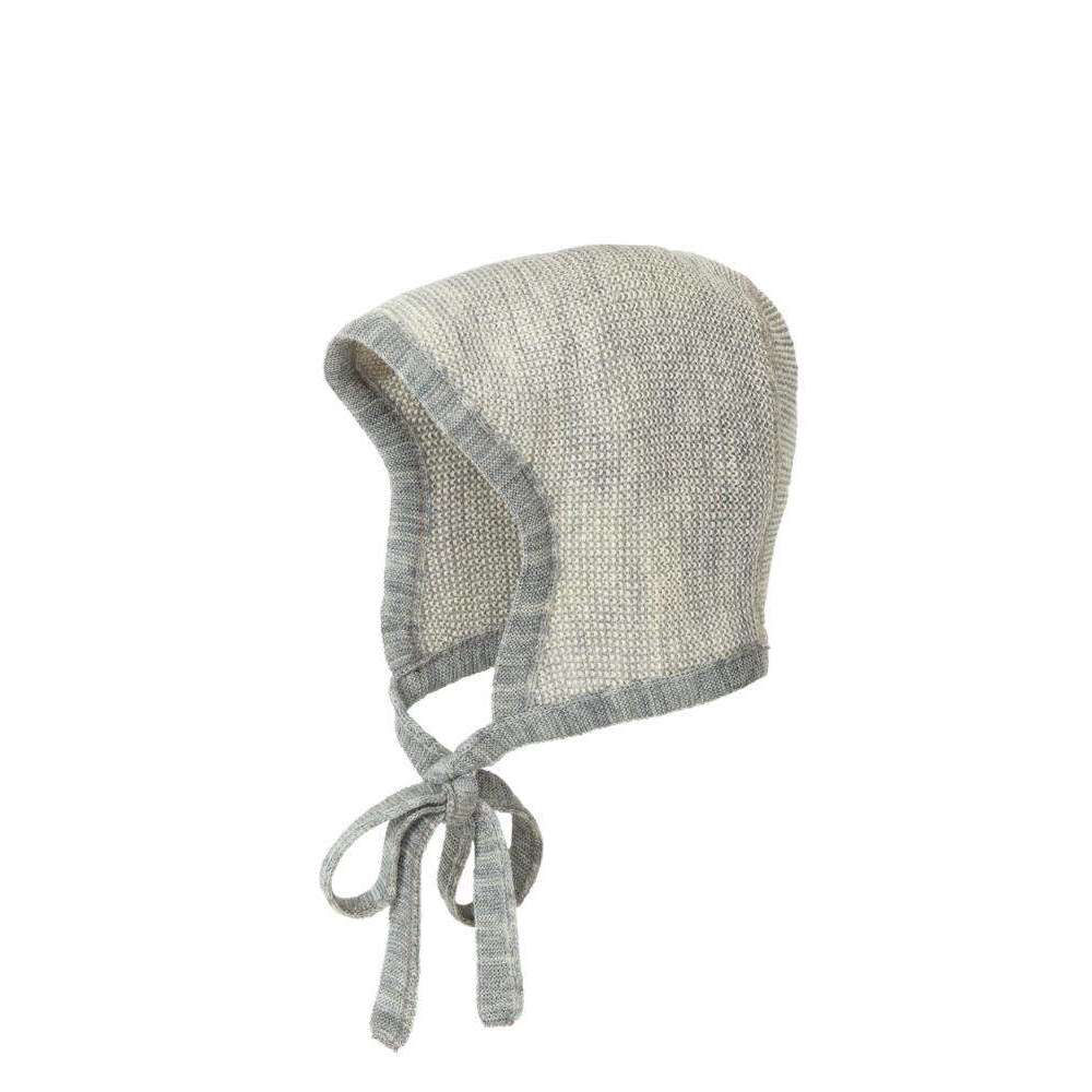 Disana Knitted Merino Bonnet - Grey/Natural