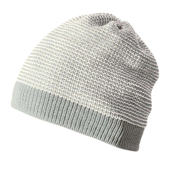 Disana Knitted Merino Beanie - Grey/Natural