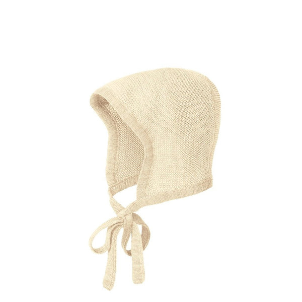 Disana Knitted Merino Bonnet - Natural