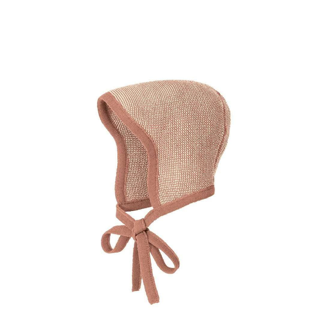 Disana Knitted Merino Bonnet - Rose/Natural