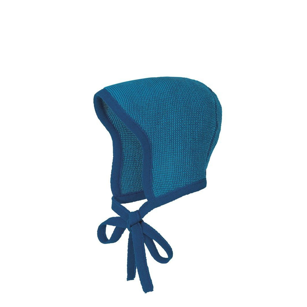 Disana Knitted Merino Bonnet - Navy/Blue