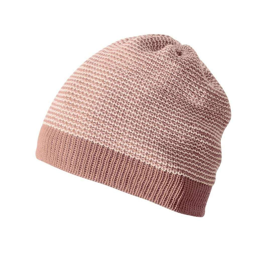 Knitted Organic Merino Beanie - Rose/Natural