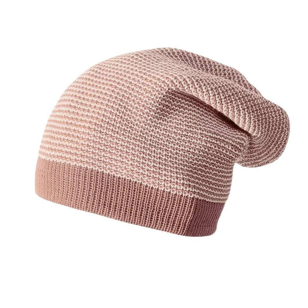 Knitted Organic Merino Long Beanie - Rose/Natural