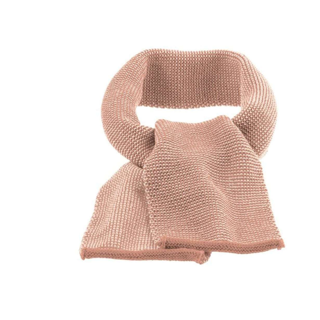 Organic Merino Melange Knitted Scarf - Rose/Natural