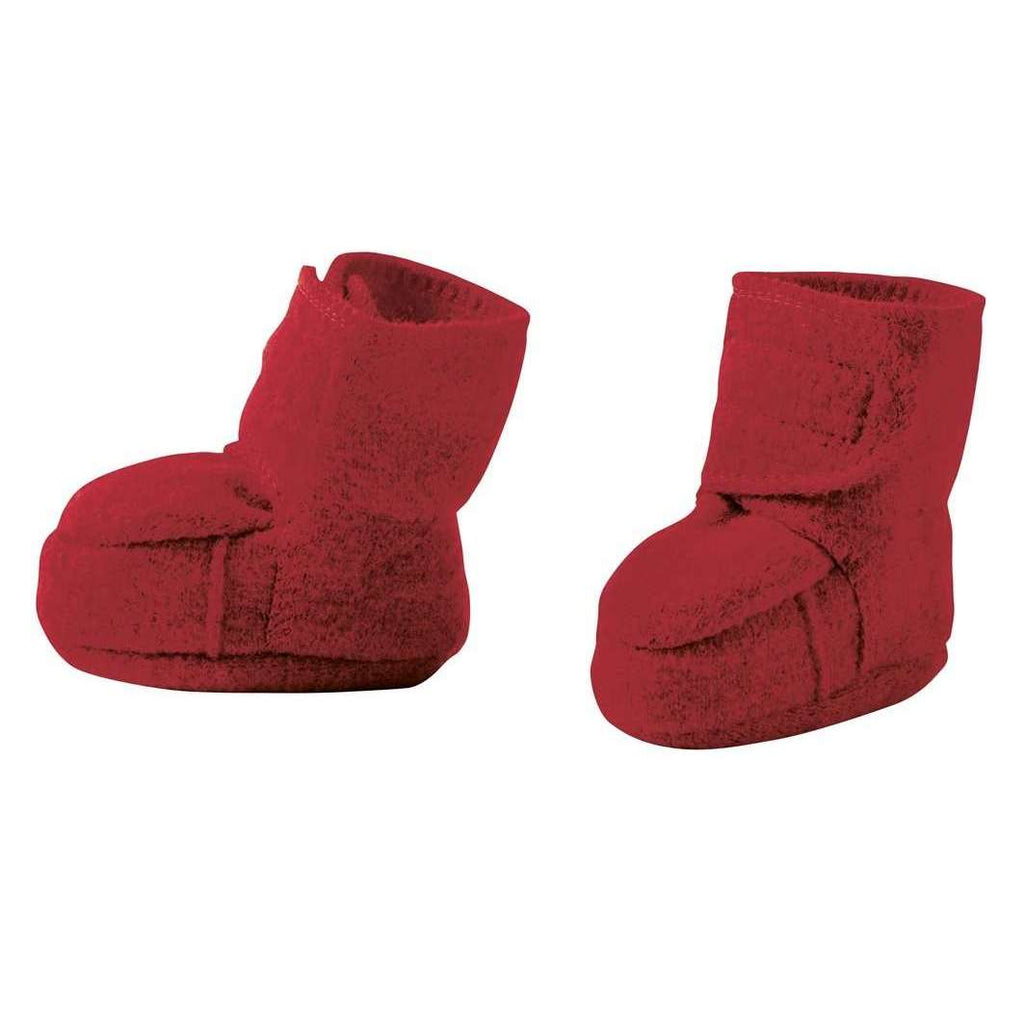 Disana Boiled Wool Booties - Bordeaux