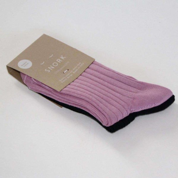 Organic Cotton Mid-Length Socks - Vintage Pink/Black