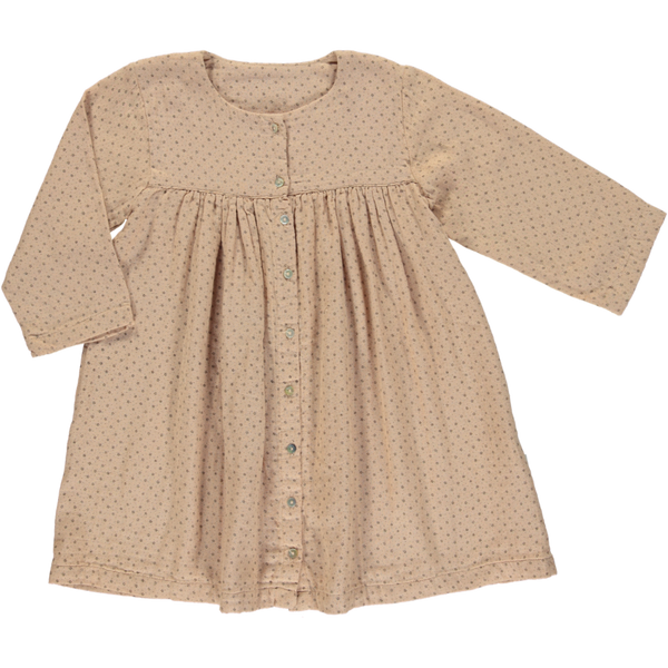 Organic Cotton Button Dress - Maple Sugar Flowers