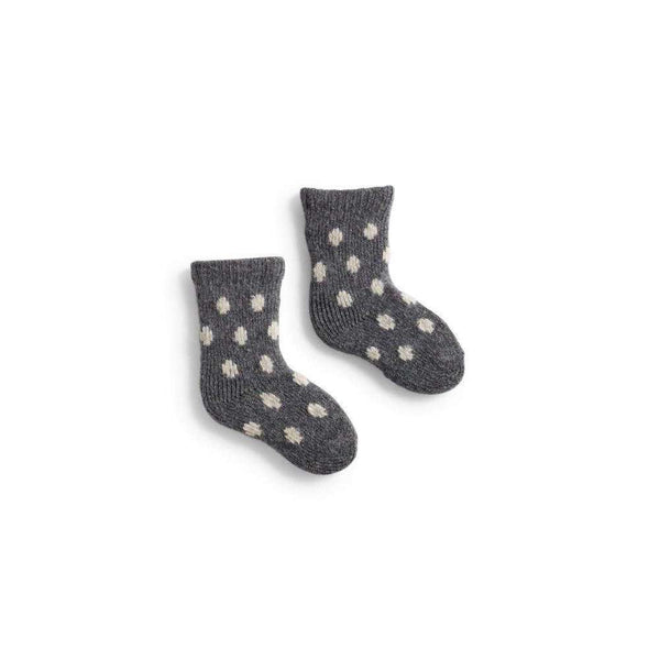 Lisa b Baby Classic Dot Wool & Cashmere Socks - Grey Heather