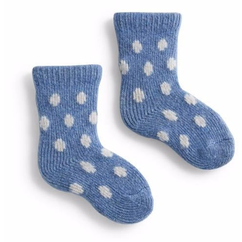 Lisa b Baby Classic Dot Wool & Cashmere Sock - Chambray