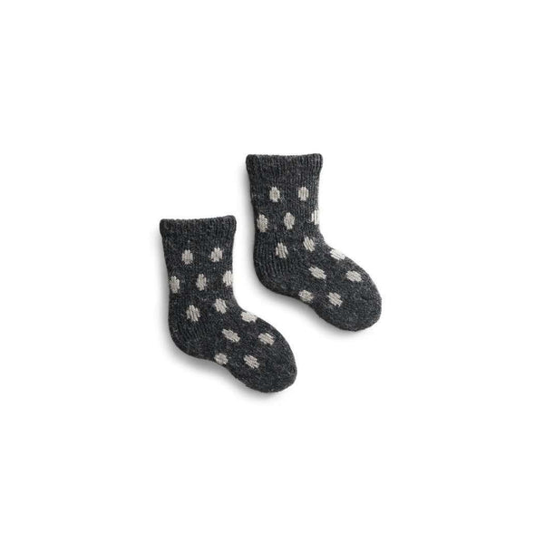 Baby Classic Dot Wool & Cashmere Socks - Charcoal