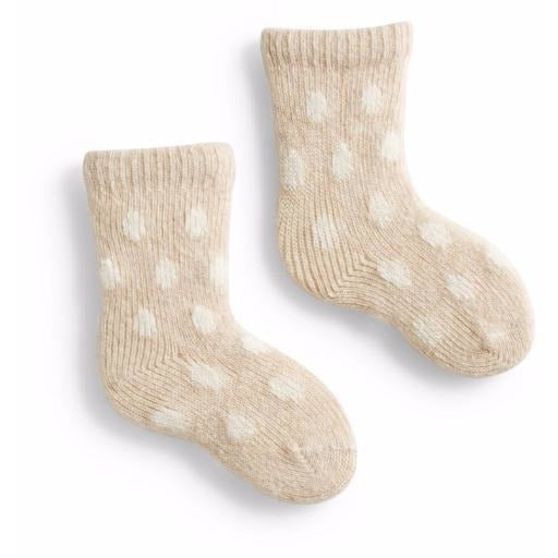 Lisa b Baby Classic Dot Wool & Cashmere Socks - Cream