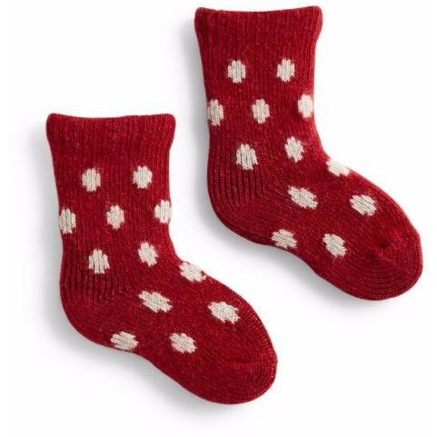 Lisa b Baby Classic Dot Wool & Cashmere Socks - Red