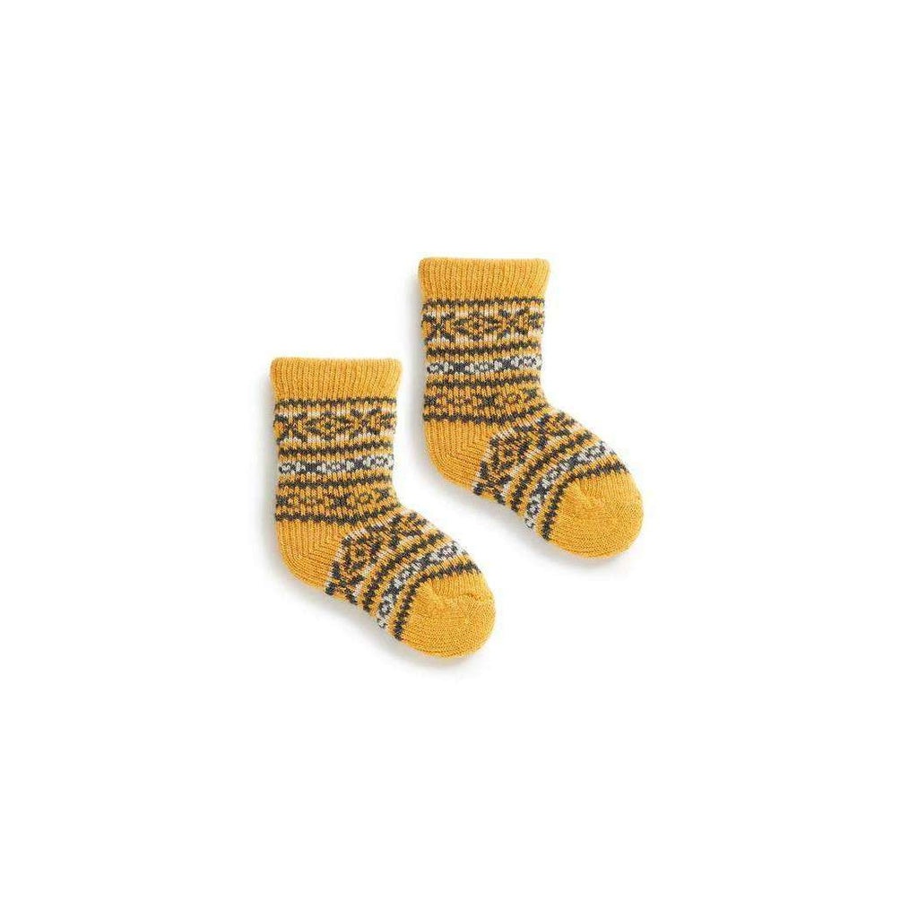 Baby Fair Isle Wool & Cashmere Socks - Yellow
