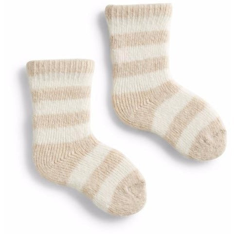 Baby Classic Stripe Wool & Cashmere Socks - Cream