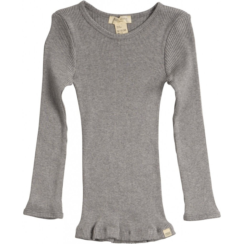 Silk/Cotton Bergen LS Top - Grey Melange