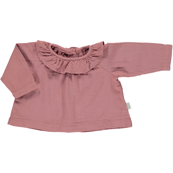 Organic Cotton Frill Blouse - Light Mahogany