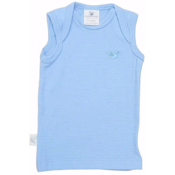 Organic Merino Rib Baby Vest - North Sea Blue