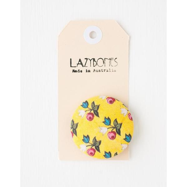Yellow Floral Button Brooch