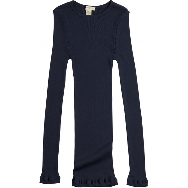 Silk/Cotton Adult Rib Gerda LS Top - Dark Blue