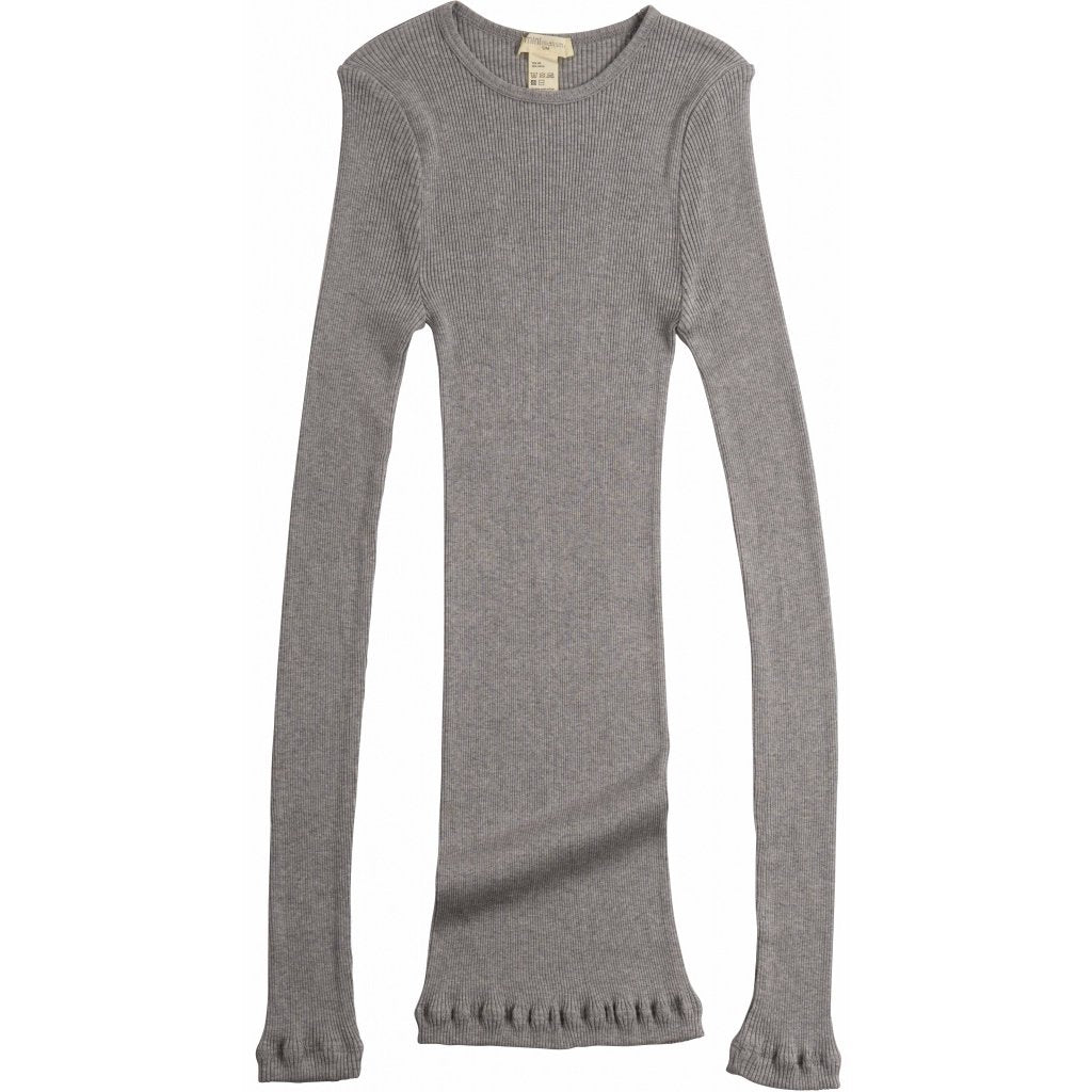 Silk/Cotton Adult Rib Gerda LS Top - Grey Melange
