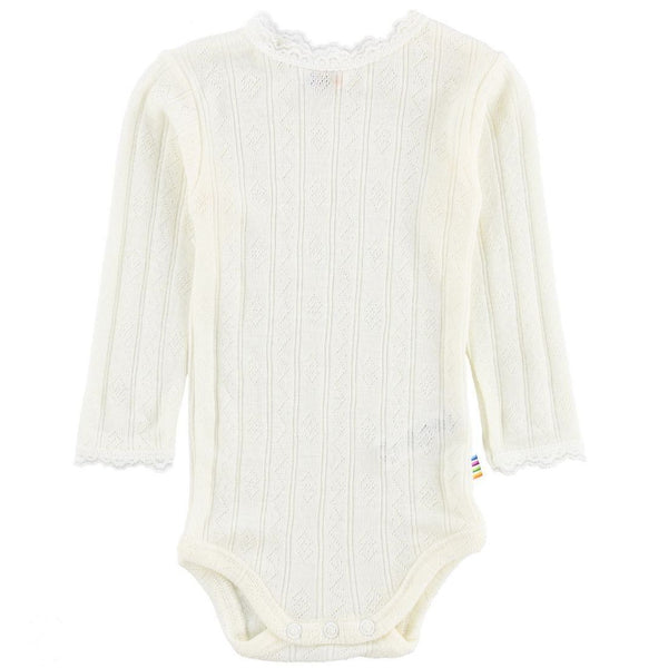 Wool/Silk LS Body with Lace - Natural
