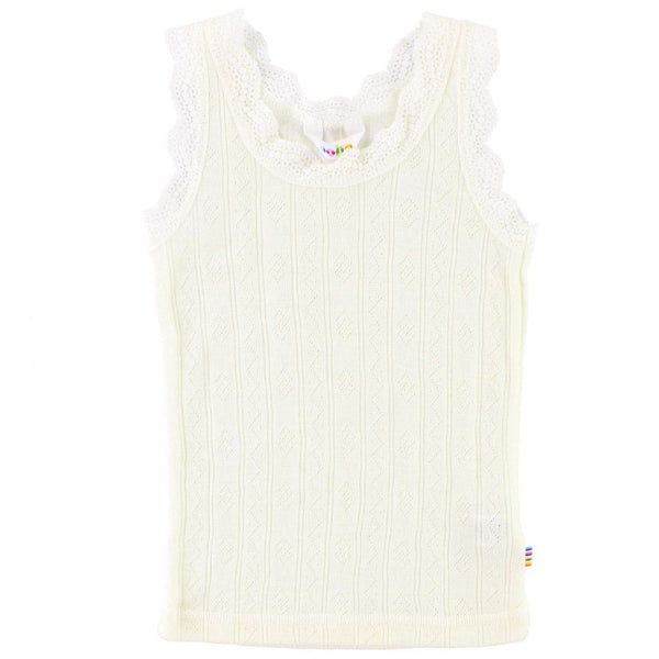 Wool/Silk Singlet with Lace - Natural