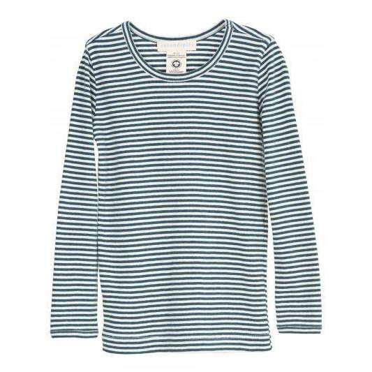 Organic Cotton Child Long Tee - Atlantic/Off White Stripe