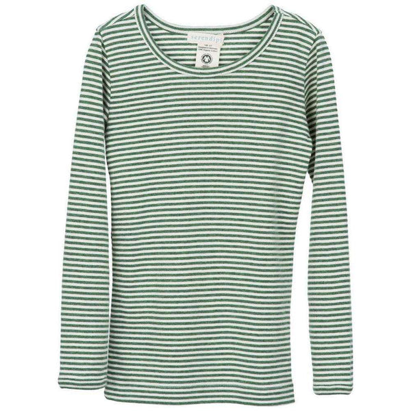 Serendipity Organics Child Long Tee - Olive/Off White Stripe