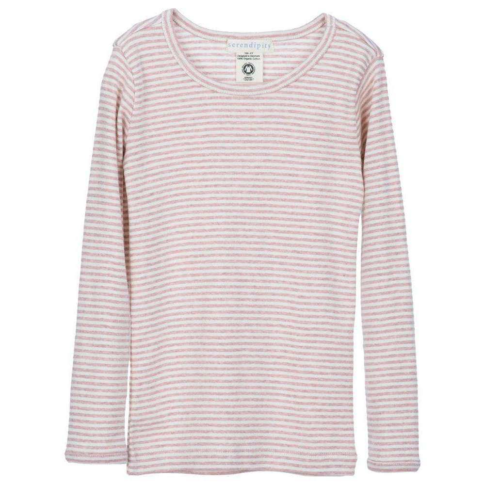 Serendipity Organics Child Long Tee - Pink/Off White Stripe