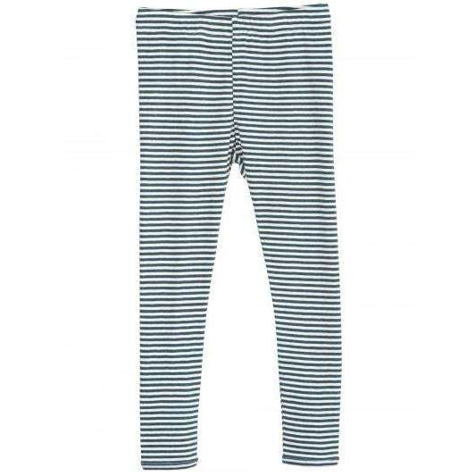 Organic Cotton Child Leggings - Atlantic/Off White Stripe
