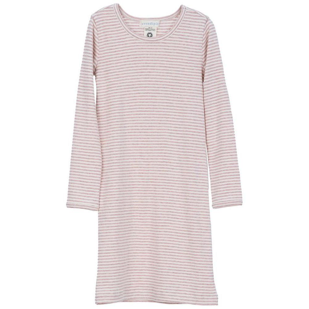 Organic Cotton Nightgown - Pink/Off White Stripe