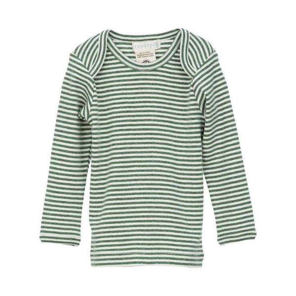 Serendipity Organics Baby Long Tee - Olive/Offwhite