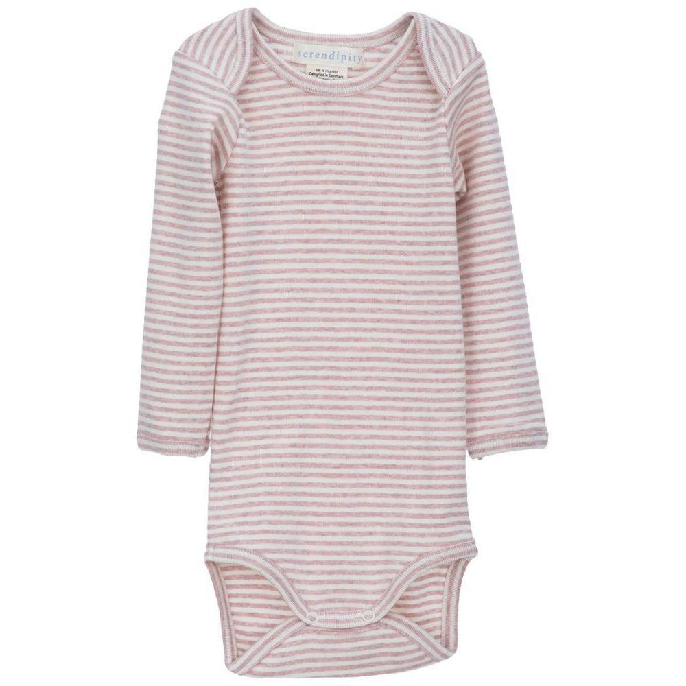 Organic Cotton Baby Body - Pink/Offwhite Stripe