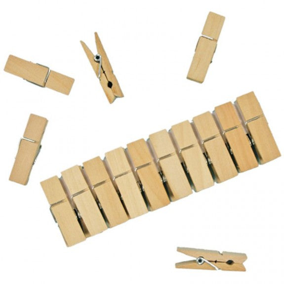 Mini Wooden Clothes Pegs - 10 pack