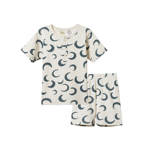 Short Sleeve Cotton Rib Pyjama Set - Crescent Moon