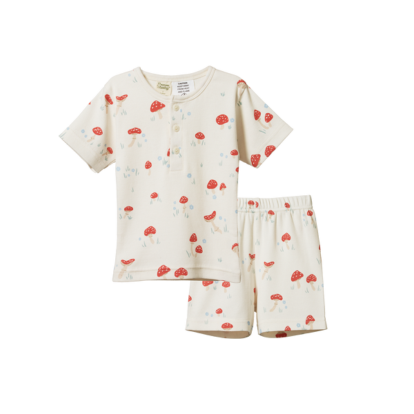 Short Sleeve Cotton Rib Pyjama Set - Mushroom Valley