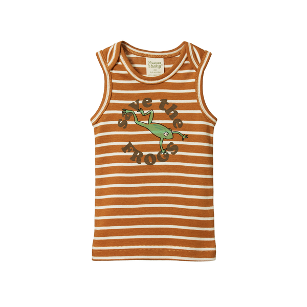 Organic Cotton Singlet Top - Save the Frogs Print