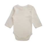 Organic Cotton Long Sleeve Body Suit - Pointelle