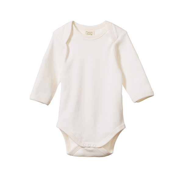 Organic Cotton Long Sleeve Body Suit - Natural