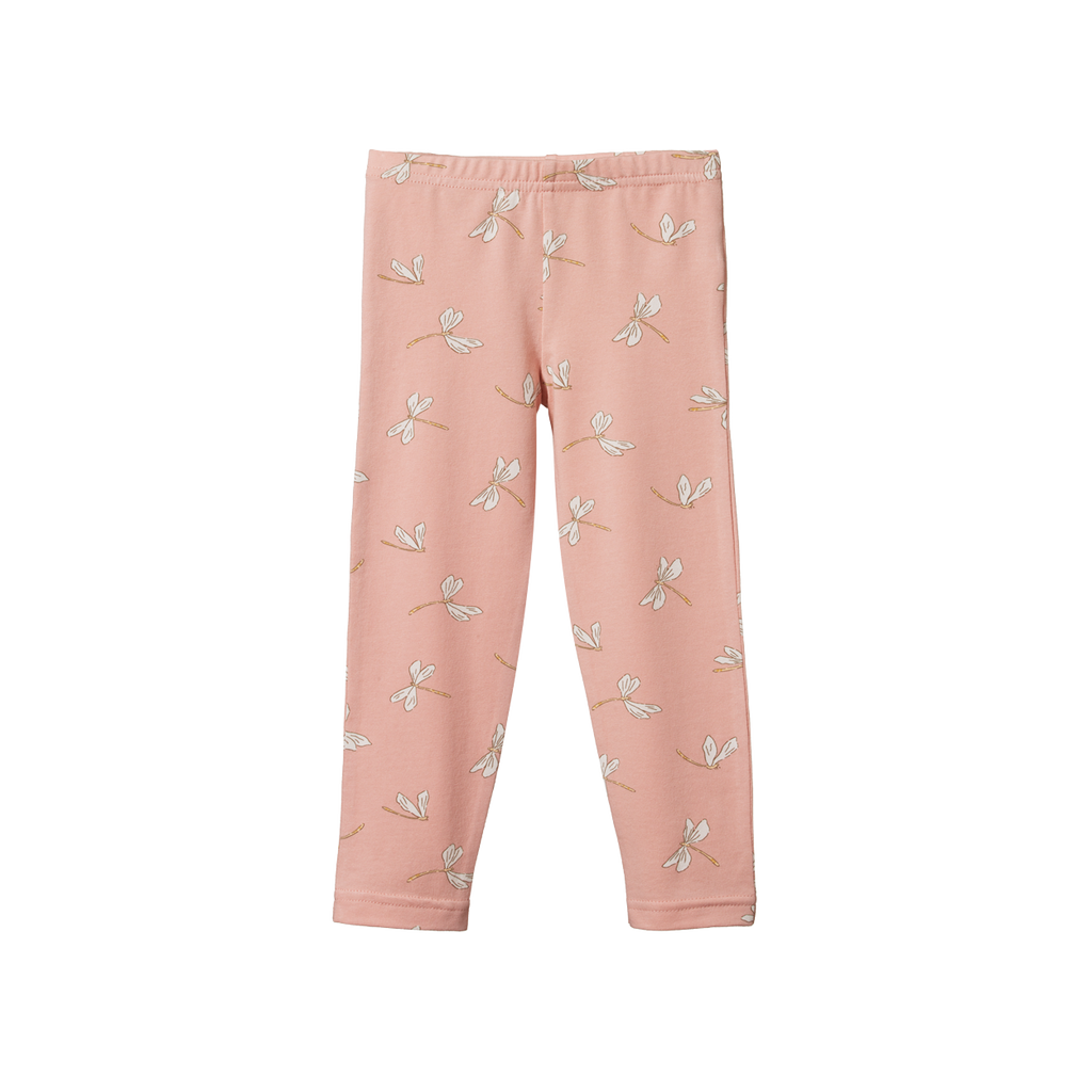 Organic Cotton Leggings - Dragonfly Lily Print