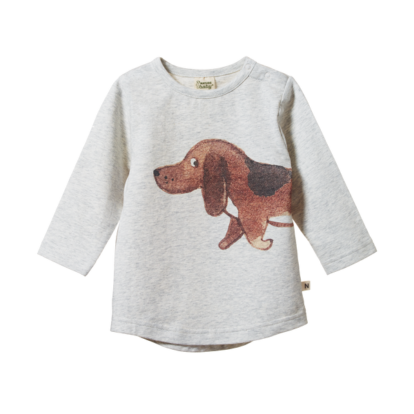 Everyday Tee - Top Dog Light Grey Marl Print