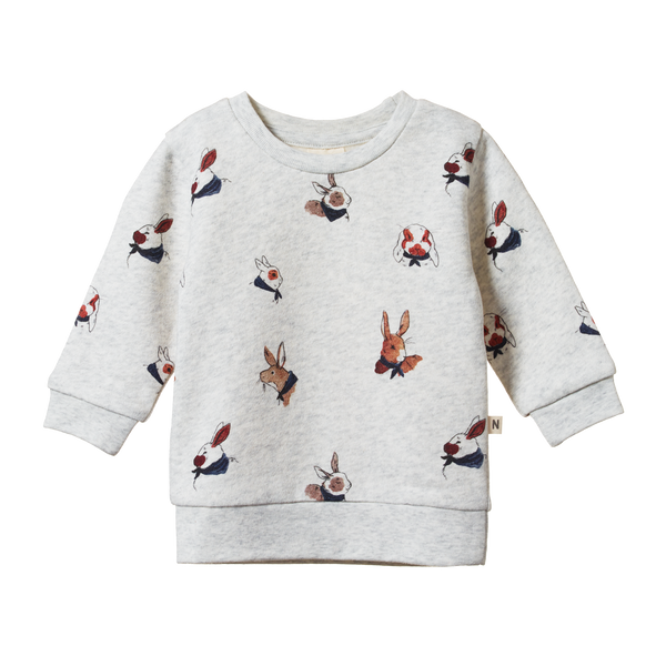 Emerson Sweater - Bunny Garden Light Grey Marl Print