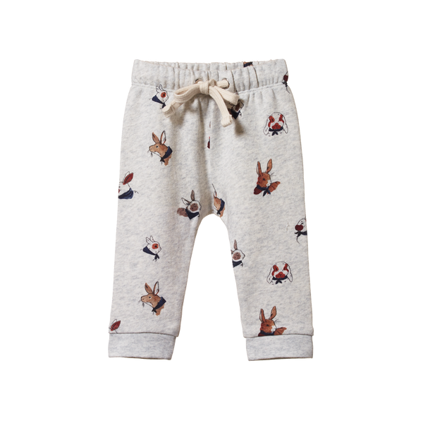 Sunday Track Pants - Bunny Garden Light Grey Marl Print